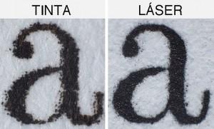 texto tinta vs láser